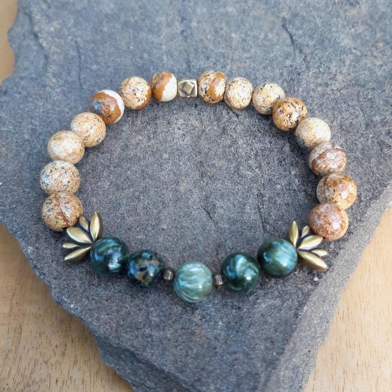 "Handmade Natural Gemstone DENDRITIC AGATE Stone Beaded Bracelet Bijoux 7/"" Cadeau"
