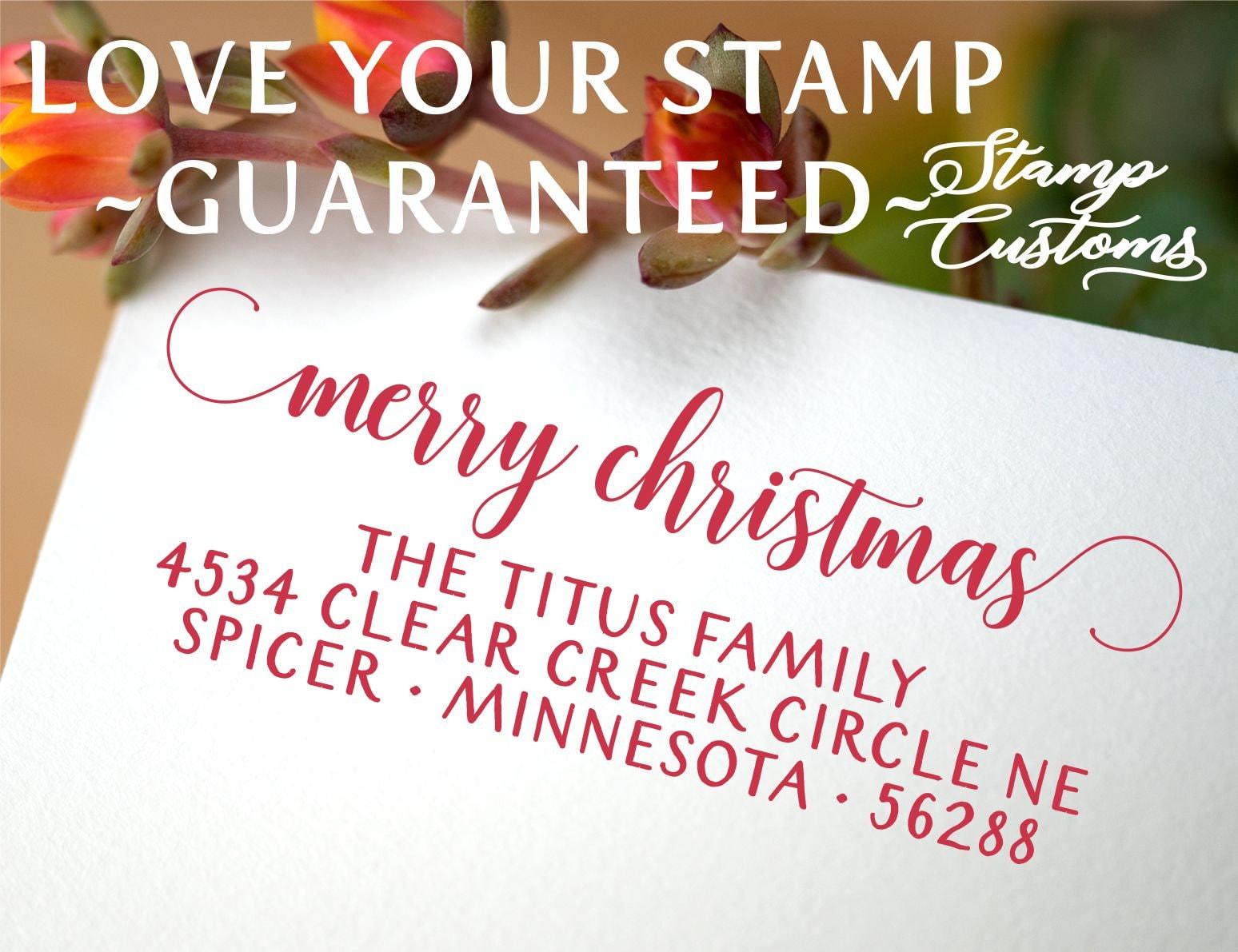 Merry Christmas Stamp Self-Inking Stamp Rubber Stamp Holiday Stamp Christmas Card Stamp Custom Address Stamp #146 Return Address Stamp