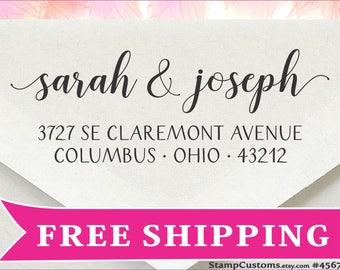 Address Stamp - Custom Return Address Stamp - Calligraphy Wedding Gift Stamp - Married address stamp Self-inking  4567