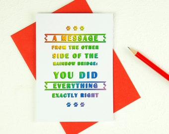 Rainbow Bridge Card. Sympathy Greetings. Pet Memorial Message. A6 Pet Loss Remembrance Tribute. Condolence Gift. Etsy Mcr