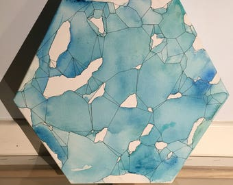 Hexagonal Blue Watercolour with Geometric Detail