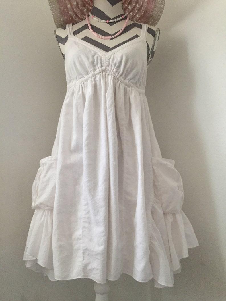 SPRING DRESS SALE Vintage White Cotton Sundress Shabby Chic Wedding Dress