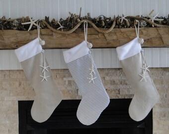 christmas stocking coastal christmas stocking christmas at the beach starfish christmas stocking personalized christmas stocking - Coastal Christmas Stockings