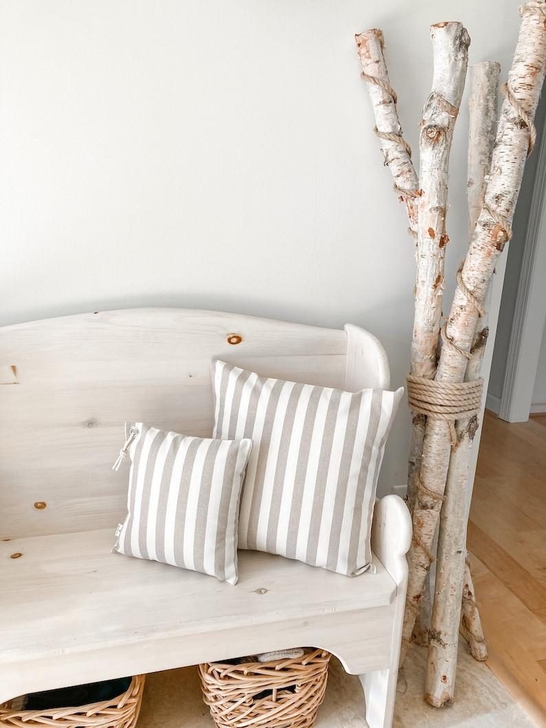 Taupe Ivory Stripe Pillow Cover Neutral Stripe Pillow Cover Neutral Decor Pillow Taupe Stripe Pillow Cover Coastal decor