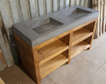 """60"""" Dual Ramp Bowl Vanity with Rough Cut Pine Stand"""