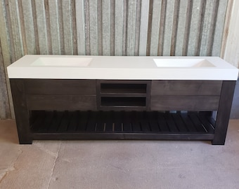 """92"""" Dual Ramp Vanity with 4 Drawer 3 Shelf Maple Stand"""