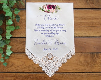 154 Wedding favor Keepsake PRINTED-CUSTOMIZE Flower Girl Wedding handkerchief Flower Girl gift-FCAC