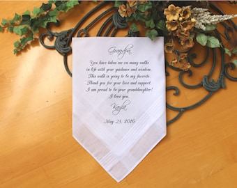 Grandfather of the Bride Handkerchief-Wedding Hankerchief-PRINT-CUSTOMIZE-Wedding gift to Grandpa-Grandfather hankie from the Bride-CAC[9]