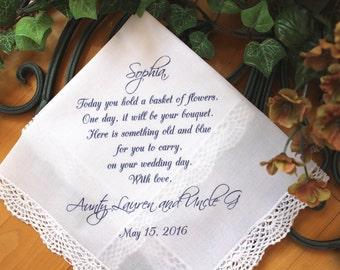Flower Girl Handkerchief - Today you hold a BASKET of FLOWERS - custom PRINTED wedding hankie, hanky, gift, favor LS5FCA[37]