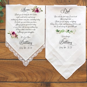 Thank you Gift Personalised Wedding Gift Handkerchief #31 Gift Set Wedding Handkerchief For Mum and Dad
