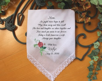 Personalized PRINTED WEDDING Handkerchief, Mother of the Bride handkerchief, As joyful tears begin to fall, wedding favor, Custom. CAC[123]