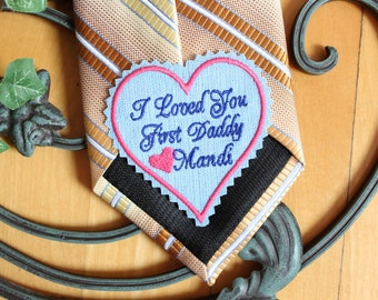 Father of the bride gift, BLUE tie patch, label, hear shaped, heart patch, embroidered, wedding gift, I loved you first Daddy, 23F38