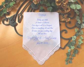 Flower Girl Handkerchief, wedding Handkerchief-custom PRINTED-Personalized.  Today you are YOUNG but the YEARS will pass. LS5FCAC[124]