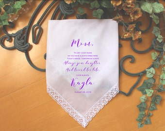 Mother of the Bride handkerchief, PRINTED, to dry your happy tears, Mom Handkerchief, Mother of the Bride Gift,Personalized. LS6PadCop[111]
