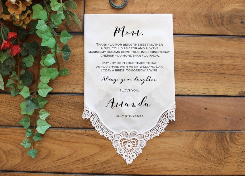 Mother of the Bride Gift Wedding Handkerchief CUSTOMIZED image 0