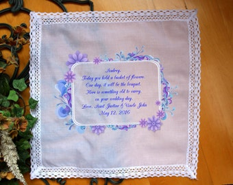 Flower Girl Handkerchief - Today you hold a BASKET of FLOWERS - Something old to Carry on your Wedding Day - PRINTED Hankie LS4FCAC[163]