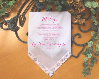 Flower Girl Handkerchief, wedding Handkerchief-custom PRINTED-Personalized.  Today you are YOUNG but the YEARS will pass. LS6FPadCop[135]