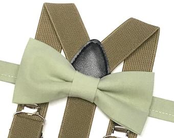 Sage Bowtie with Dark Tan suspenders, Sage Wedding, Dusty Sage Bow tie, Men's Suspenders, Ring Bearer Gift, Groomsmen Outfit, Boho Wedding