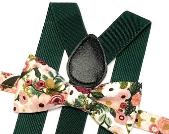 Green Suspenders with Bow Tie, Suspenders, Floral Bow ties, Burgundy and Blush, Hunter Green, Dark Green Suspenders, Forest Green Wedding