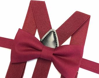 Burgundy bowtie with burgundy suspenders, Wine bowtie with wine suspenders, Wedding suspenders, Ring bearer outfit, Burgundy Wedding