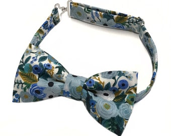 Floral bow tie, bow tie with flowers, Dusty Blue Wedding, Blue Floral Bow tie, Bohemian Wedding