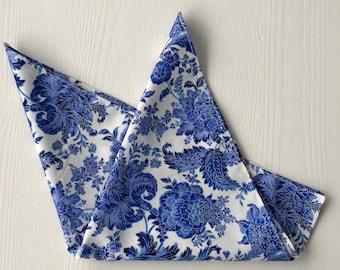 Pocket Square, Blue Floral Pocket Square, Blue Pocket Square, Floral Pocket Square, Blue and Silver Pocket Square, Hanky, Blue Handkerchief