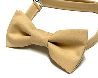 Beige Bow tie, Tan Bow tie, Taupe Bow tie, Light Brown Bow tie, Bowties, Pre-tied, Minimalist
