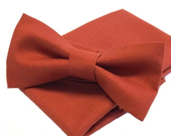 Burnt Orange Bow Tie and Pocket Square, Men's Bow tie, Sienna Bowtie, Terra Cotta, Rust Wedding, Burnt Orange Wedding, Boho Wedding Ideas