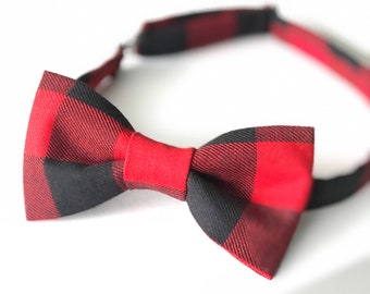 Red Buffalo Check Bowtie, Plaid Bow tie, Christmas Bow tie, Men's Red Bow tie, Red and black bow tie, Wild One Birthday