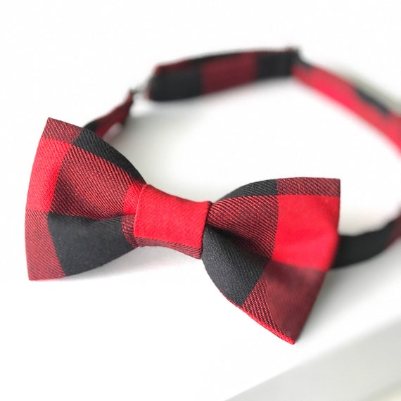 75e461fc24e6 Red Buffalo Plaid Bow tie Plaid Bow tie Men's Red Bow | Etsy