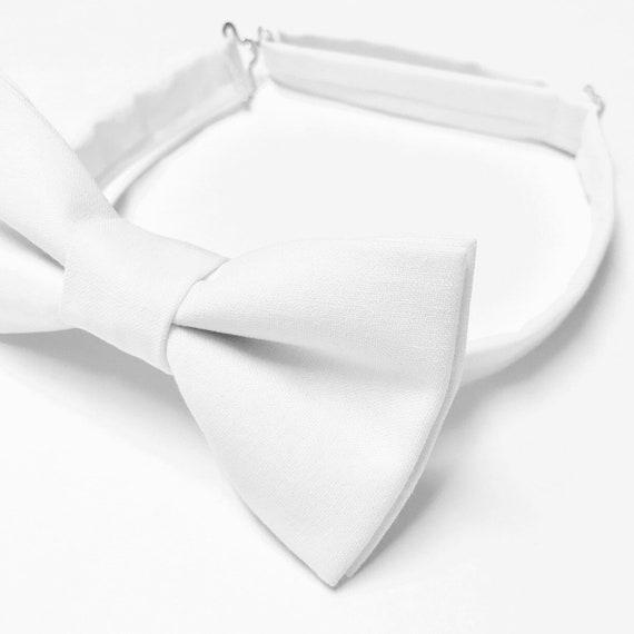 baptism christening kids bowtie White satin boys bow tie blessing bowtie for boy toddler boy bow tie adjustable baby boy bowtie