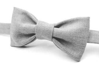 Grey Bowtie, Gray Bow Ties, Grey Bow Tie, Light Grey Bowtie, Men's Wedding Bow Tie, Kids Bowtie, Boys Bow Tie, Ringbearer Gift, Groomsman