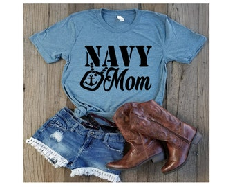 Navy Mom-Navy Wife- Navy Life- Military Wife-USA- Bella Canvas Men's Shirts- Bella Canvas Women's Shirts-Unisex Bella Canvas Tees