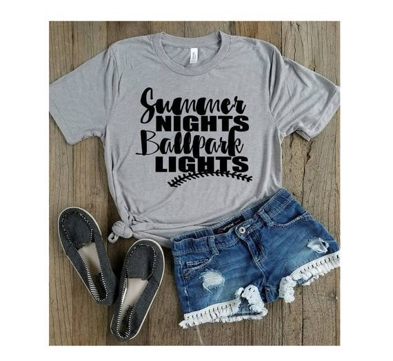 a1f21463521f Baseball Shirts Summer Nights Ballpark Lights-Pitch