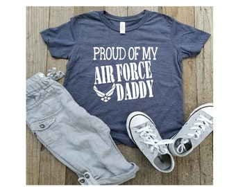 Military Shirts| Air Force| Proud of My Air Force Daddy| Air Force Shirts| kids| Youth Unisex Jersey Tees| Graphic Tee