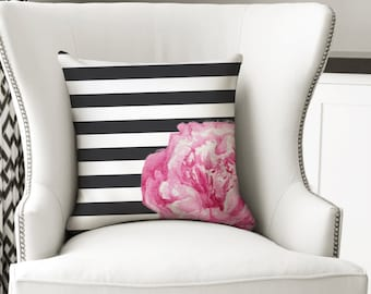 Pink Peony Watercolour Pillow Case. Flower Cushion Cover. White and Pink Room Decoration. Black and White Stripes.
