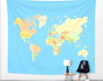 Country tapestry etsy modern world map tapestry home decor tapestry wall hanging blue world map with country names gumiabroncs Images