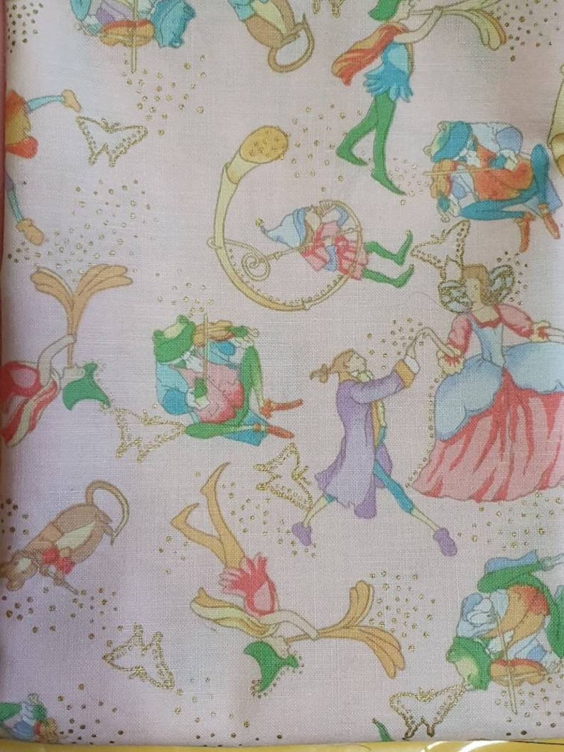 Fairy Princess fabric Vintage 90s Shamash and Sons Patt 4244M Fairytale fabric Whimsical mice frogs elves and fairies OOP 20L x 44W