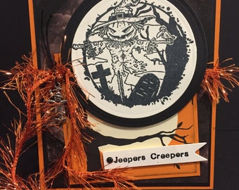 Spooky Scarecrow Black Crow Raven Halloween Gift or Scrapbook Tags #T 9