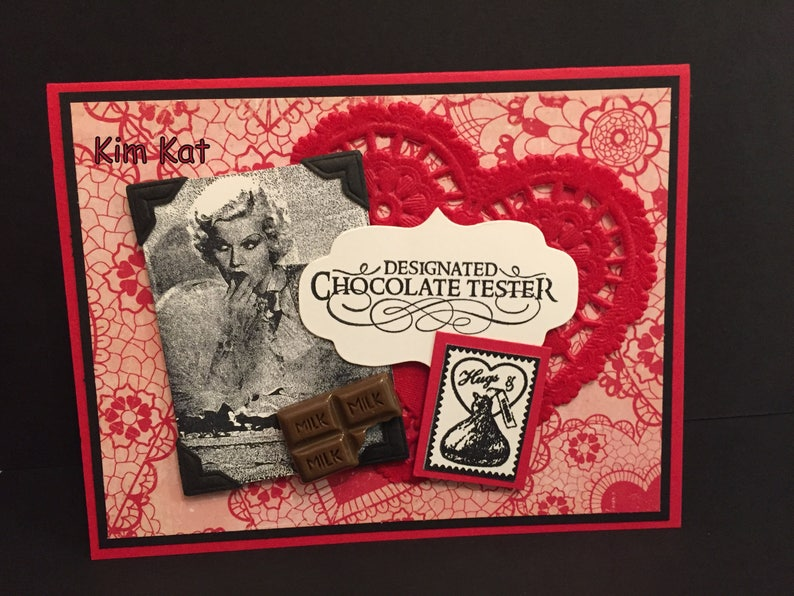 Valentine Card Pop Up Vintage Lady Designated Chocolate Tester Kiss 3D OOAK  Stampin Up Mixed Media Handmade