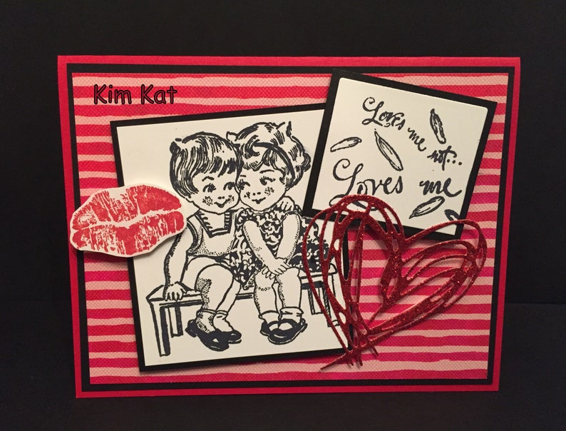 Valentine Card Pop Up Retro Boy & Girl Loves Me Loves Me Not Kiss Heart 3D  Stampin Up OOAK Mixed Media Handmade