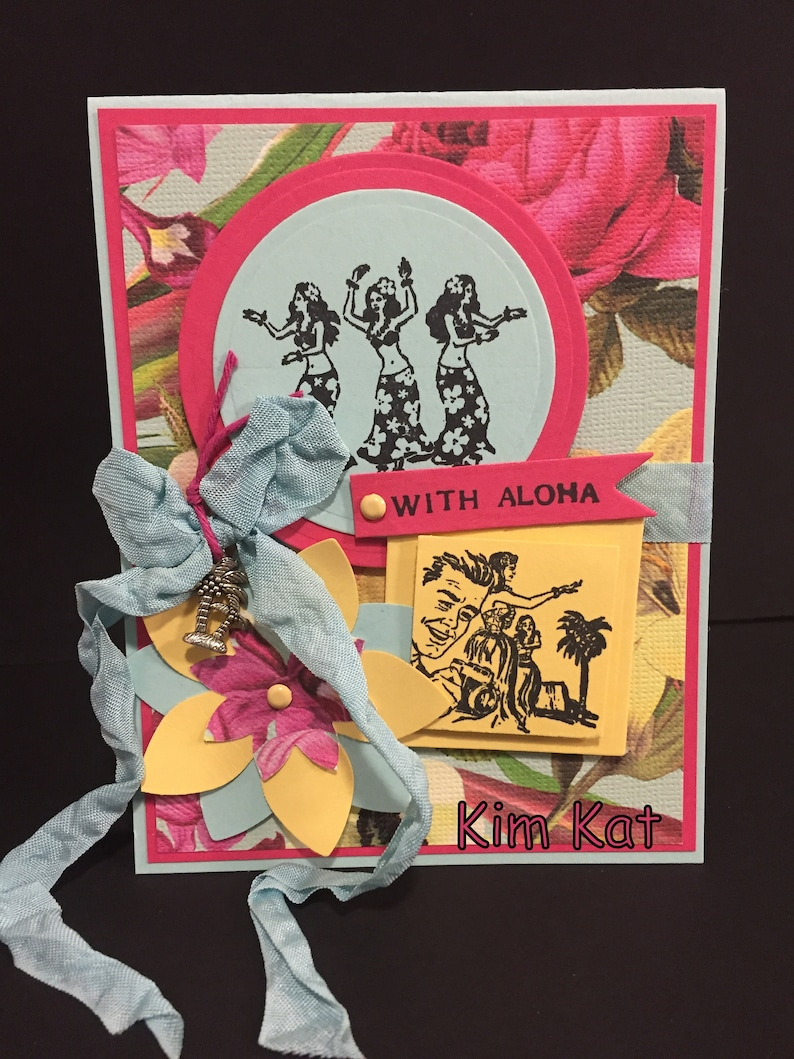 Retro Hawaii Card Pop Up Hawaiian Hula Girls With Aloha 3D Mixed Media Art Handmade