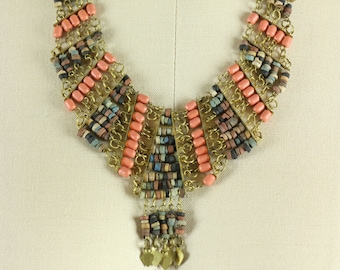 Vintage Egyptian Faience Bead and Brass Necklace, Egyptian Revival Jewelry, Boho Jewelry, Tribal Necklace