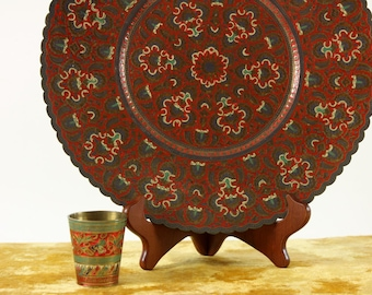 Vintage Brass and Enamel Indian Plate and Cup, Boho Wall Hanging, Decorative Serving Tray, Lassi Cup