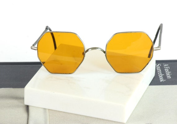 Vintage Willson Amber Glass Octagon Sunglasses, 19