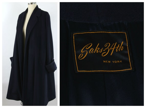 Vintage 1950's Wool Swing Coat, Deep Navy, Saks 34