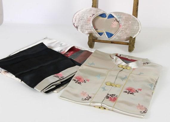Vintage Chinese Satin Brocade Pajama Set Travel Se
