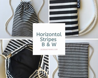 Striped Drawstring Backpack - Horizontal Stripe Backpack Purse - Small Black and White Cinch Sack - Mini Backpack - Drawstring Bag - OCD Bag
