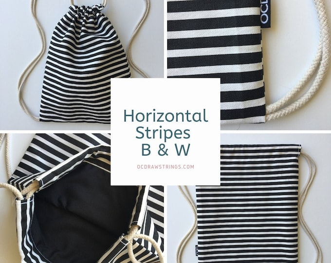 Featured listing image: Striped Drawstring Backpack - Horizontal Stripe Backpack Purse - Small Black and White Cinch Sack - Mini Backpack - Drawstring Bag - OCD Bag