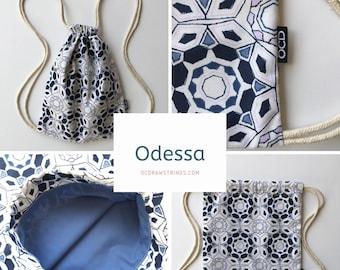 Odessa Backpack - White Navy and Lavender Drawstring Backpack - Small Knapsack- Geometric Cinch Sack - OC Drawstrings - OCD Bag